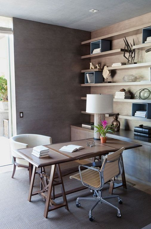 30+ Modern Home Office Decor Ideas With Small Plants Home office - Home Office Decor Ideas