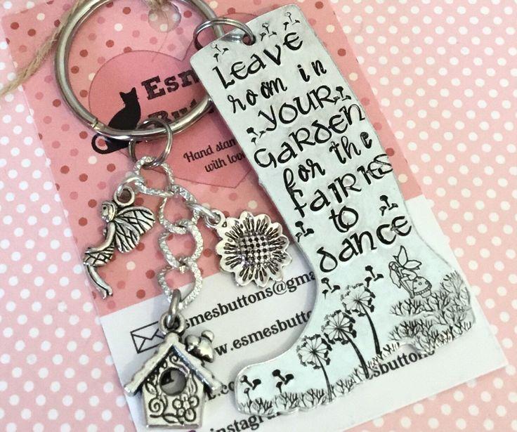 Gardener gift, fairy gift, wellie boot, Hand Stamped Key chain, Gift for gardener, gift for her, gift for him, UK seller by EBMetalStampingCraft on Etsy https://www.etsy.com/uk/listing/593935156/gardener-gift-fairy-gift-wellie-boot #gardengift #fairygift #dancewithfairies #giftforher #giftforhim #etsy
