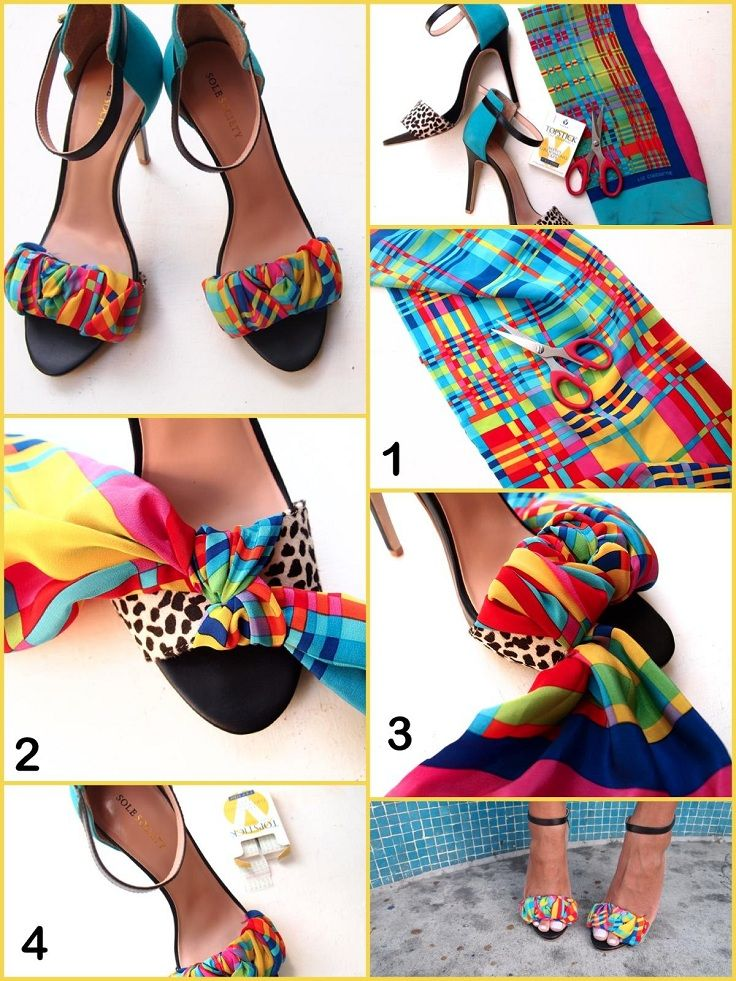 YEEEEZ Lord! DIY- Colorful DIY Shoes made by old colorful scarf. Visit https://www.facebook.com/LadyGadgetOnline for more incredible gadgets every day.