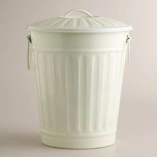 One of my favorite discoveries at WorldMarket.com: Large Ivory Retro Galvanized Trash Can