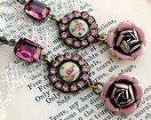 Rosa di Sharon, Vintage smalto rosa guilloché, rosa smalto Vintage, Vintage Rose rosa gioiello Assemblage orecchini rosa
