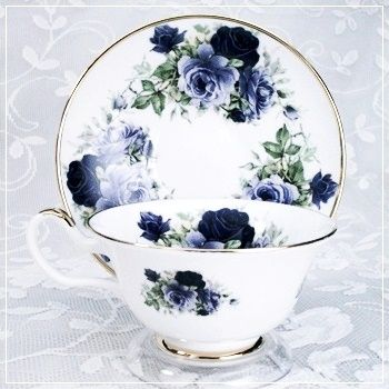 Midnight Rose Bone China   Cup & Saucer