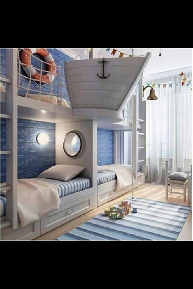 This is so cute! I think the cutest part is probably the boat coming out of the wall. This would probably be a lot of work, but I mean, look what it would turn out to be!