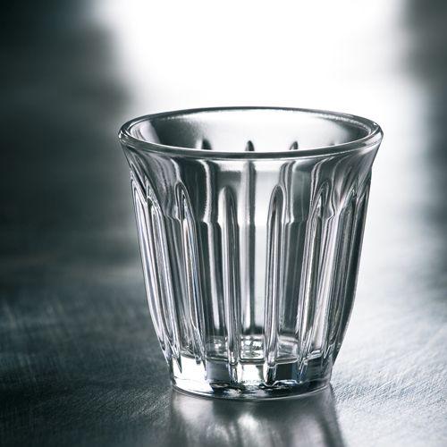 tasse à café 10cl et mug 20 cl en verre transparent rainuré au look industriel inspiré des moteurs d'avion. Fabriqué en France par La Rochère compatible lave-vaisselle.