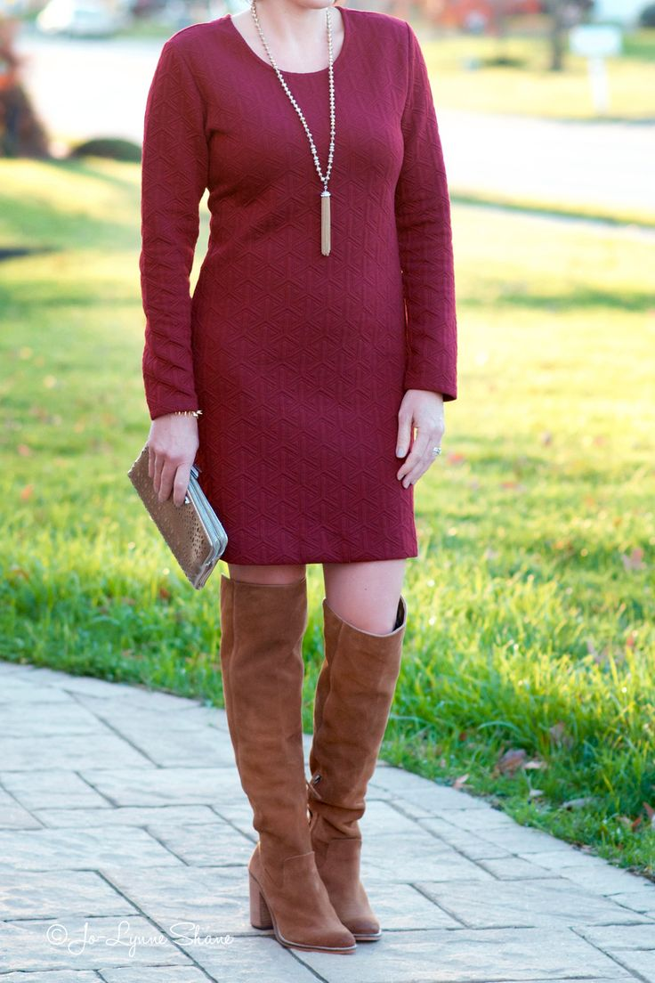 Fashion Over 40: OTK Boots with a Knit Dress