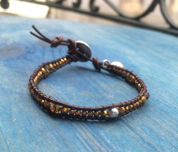 One time wrap leather and faceted hematite by BijouxaLaCarte, $25.00