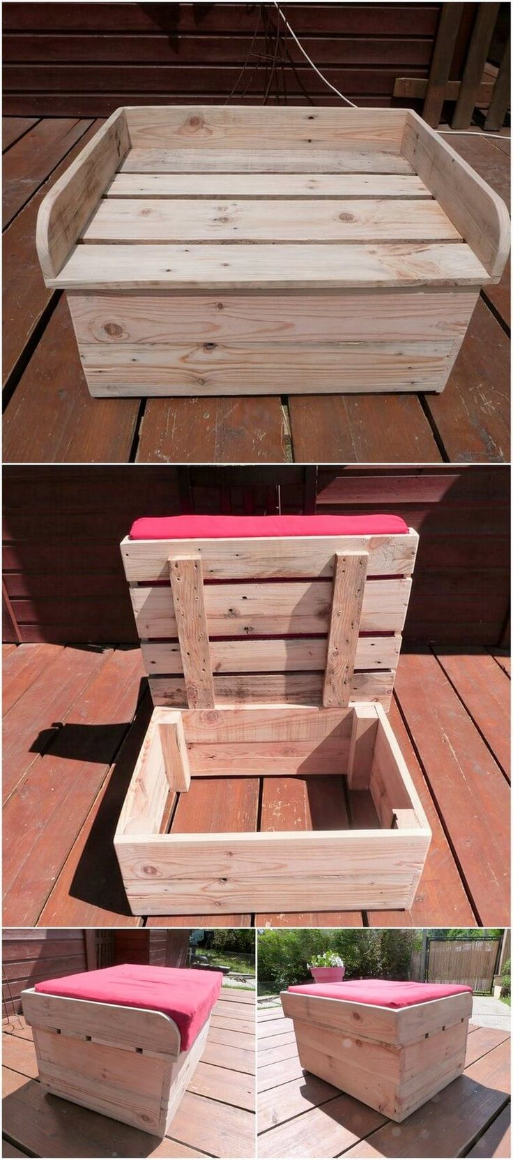 Wood Pallet Seat with Storage Box 3962