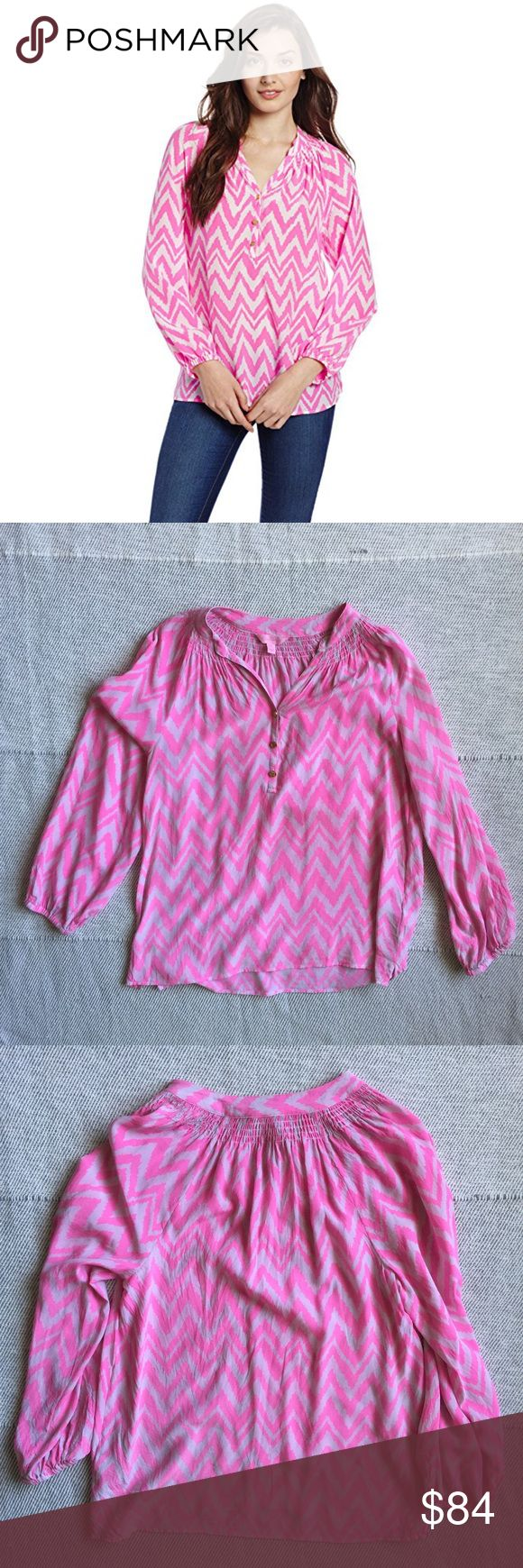 Lilly Pulitzer Elsa Pink Chevron Top Beautiful pink chevon 100% Silk top by Lilly Pulitzer. Gold buttons and elastic around the wrist. In flawless condition: Lilly Pulitzer Tops Blouses