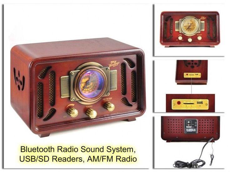 Vintage Wooden Radio Retro Style Antique USB/SD Readers Bluetooth Radio System #VintageWooden