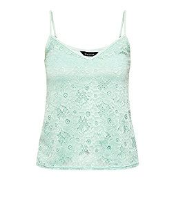 Mint Green Floral Lace Cami  | New Look