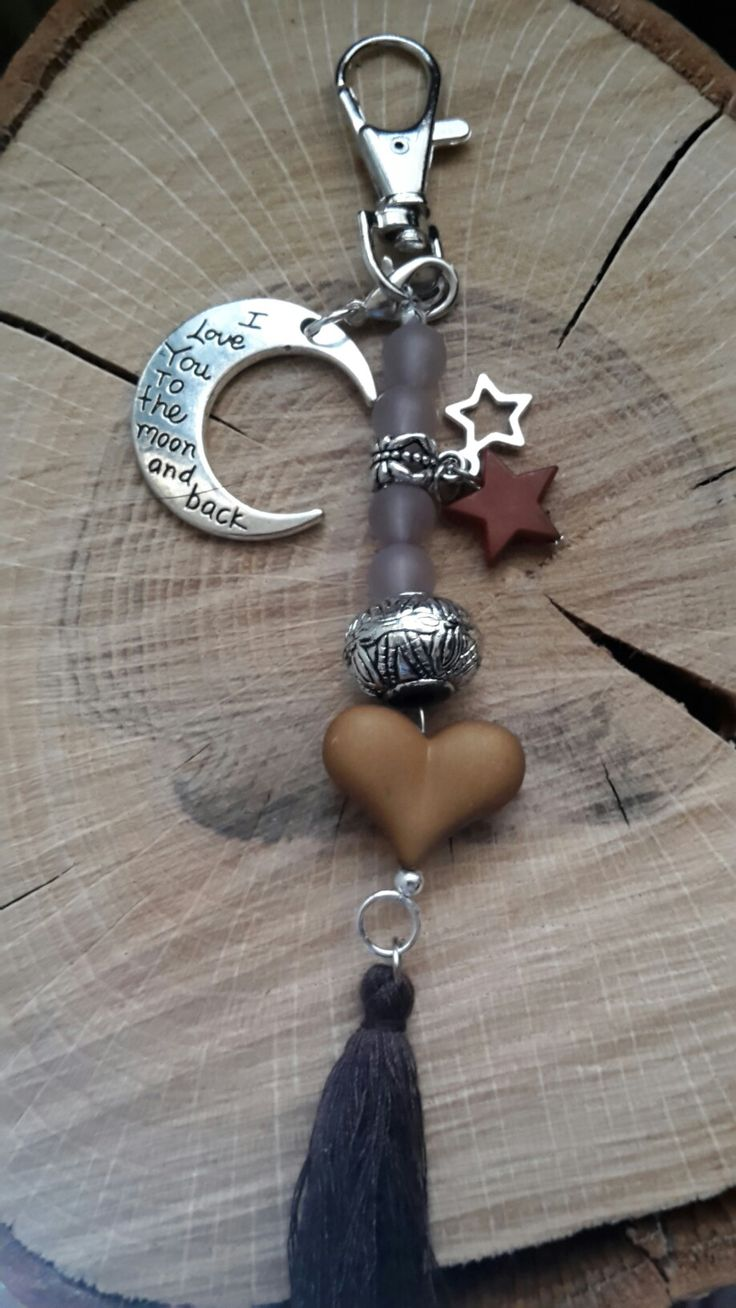 Sleutel/tassen hanger love you to the moon and back