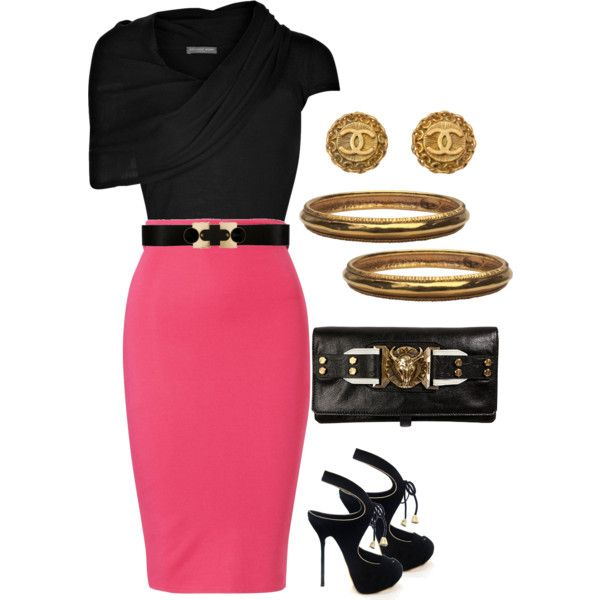 Pink pencil skirt with black and gold