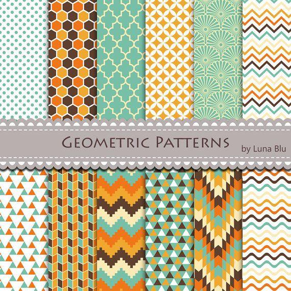 "Geometric Digital Paper: ""Geometric"" scrapbook paper, geometric design, with triangles, quatrefoil, honeycomb, tribal pattern, scales"