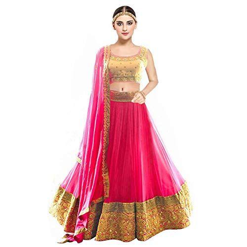 10686b3fc94194 Pramukh Fashion Women s Banglory Silk Semi-Stitched Lehenga Choli (kaya  Pink