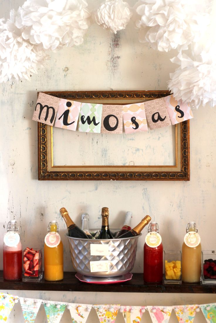 Having a daytime #bachelorette party? We love the idea of a mimosa bar!Shower Ideas, S'More Bar, S'Mores Bar, Shops Lists, Parties Ideas, Bridal Shower, Shopping Lists, Mimosa Bar