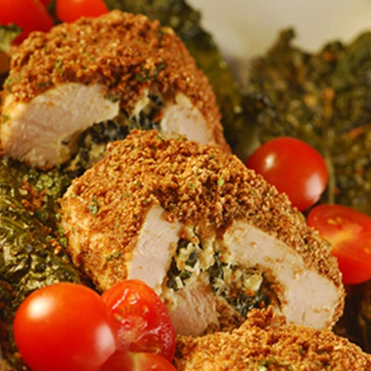 Crunchy Chicken with Ricotta and Kale Filling