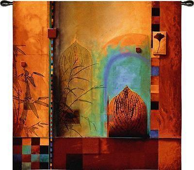 "53"" GARDEN ENSEMBLE Bamboo Asian Tapestry Wall Hanging"