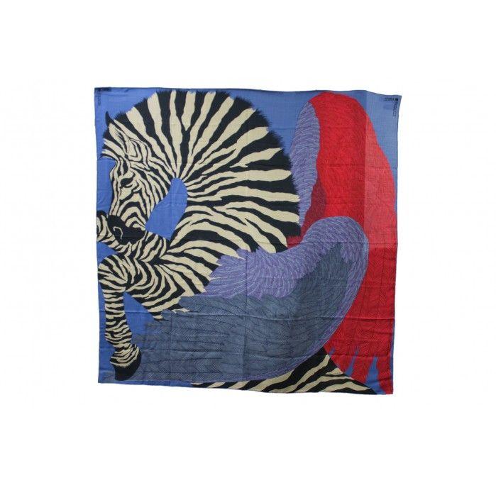 Hermes Zebra Pegasus Cashmere & Silk Shawl Scarf $1,550