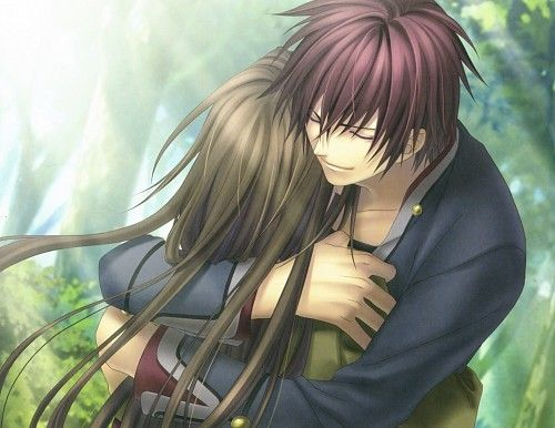 Hiiro no Kakera ~ While visiting a village, Tamaki finds herself in a supernatural place. She gets attacked by slime creatures, and a man saves her. The young man (Takuma) walks her to the village where her grandmother is staying. She learns she has to continue the role of ancestor princess, to seal the sword Onikirimaru with the help of five guardians. She falls in love with Takuma, and discovers they were lovers in their past life, in which he promised to become one of her guardians.