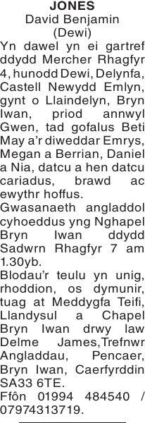 western mail obituary davies morfydd