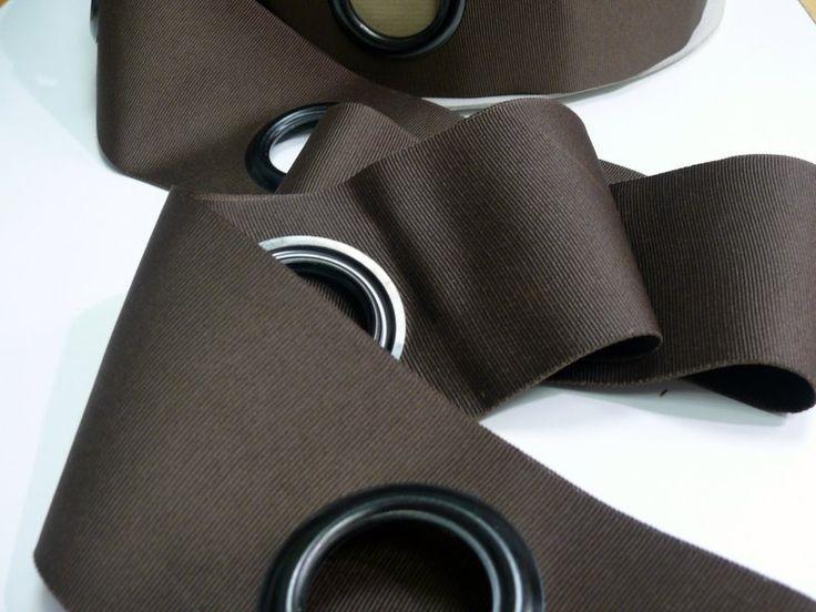ruflette à oeillets marron : Accessoires rideaux par mercerieviviane