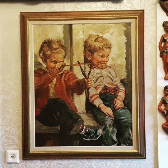 Tror dette må være det kuleste barnemaleriet av Charles Roka 😁👌👌👌 #charlesroka #kunst #art #oljemaleri  #kitsch #gutter #sprettert#midcentury #retrohjem #retro #hungary #506070tallet #legal #506070tal #vintage #rakkerunger 😈