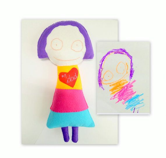 Memory Gift Toy Custom Toy Kid's Drawing by EmaDecorations on Etsy