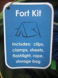 an awesome gift for any kid - boy or girl.  This fort kit includes:  two flat sheets (with loop ties), rope, mini claps, clothespins, flashlight and a reusable drawstring bag to store it all.
