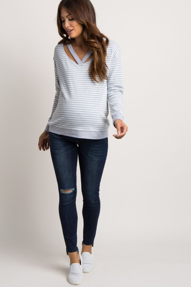 13015dae8dce0 Navy Blue Ripped Knee Raw Cut Maternity Jeans | Baby stuff | Cute ...