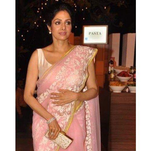 Sridevi bollywood replica light pink net saree designed by manish malhotra