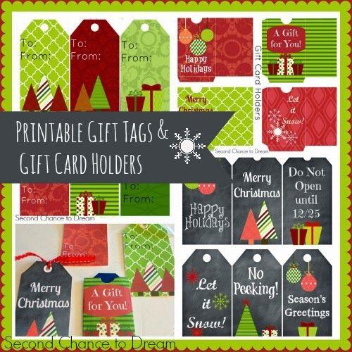 Segunda oportunidad para soñar imprimibles de Navidad Etiquetas de regalo y tarjetas de regalo a los titulares