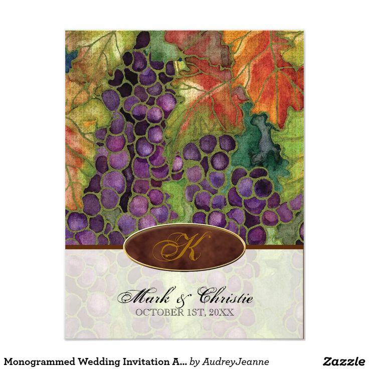 "Monogrammed Wedding Invitation Autumn Grape Leaf 4.25"" X 5.5"" Invitation Card"
