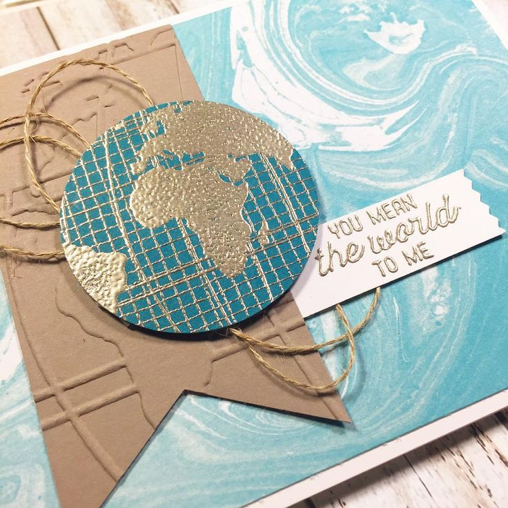 Stampin' Up! Going Global for a valentine. Gold embossed world, marbled paper…