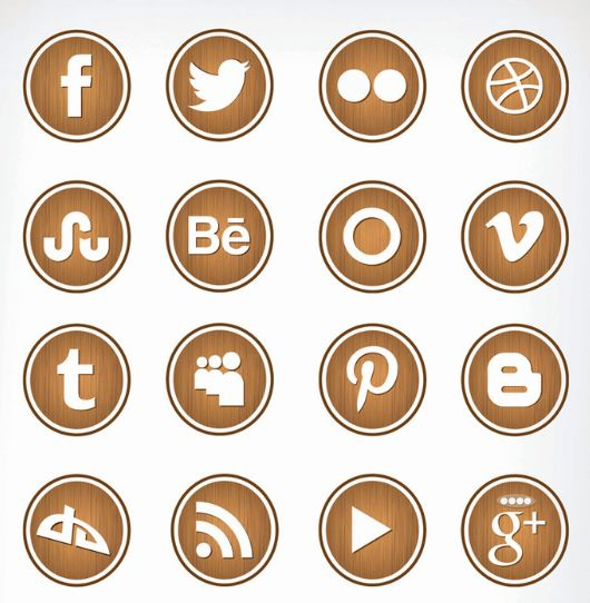 This free set of 18 wooden social networking icons comes with icons for Digg, Pinterest, Flickr, Behance, Vimeo, Google+, Dribble, and more.