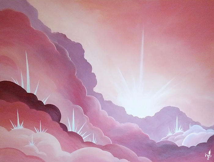 'Wolkenstadt' -  Ein #Acryl Gemälde von Christina Busse | www.christinabusse.de | #Leinwand | 70x50cm | Entstehungsjahr 2012 | #Wolken #Sonne