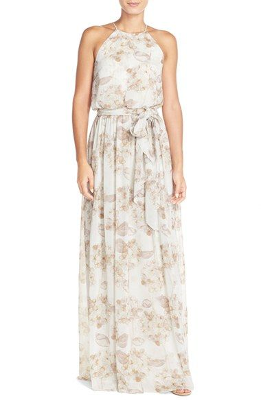Donna Morgan 'Alana' Print Chiffon Halter Style Gown available at #Nordstrom