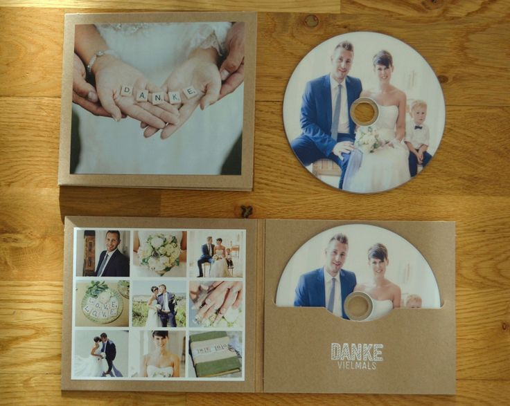 Dankeskarte mit CD # Hochzeitsfoto # Kraftpapier #