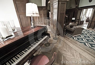 A piano in a lobby of an elegant hotel, vintage interior. Colors are cross-processed.  <a href='http://www.dreamstime.com/interiors-rcollection4789-resi208938' STYLE='font-size:13px; text-decoration: blink; color:#FF0000'><b>MY INTERIORS COLLECTION »</b></a>