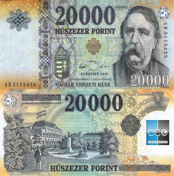 Le personnage au recto est Ferenc Deák (né le 17 octobre 1803 à Söjtör - mort le 28 janvier 1876 à Budapest) était un homme politique hongrois surnommé « Le sage de la nation ».
