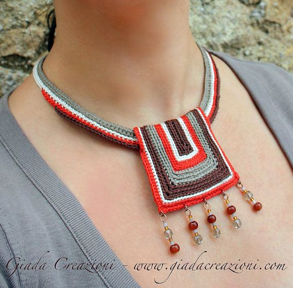 AFRICA  Ethnic Tribal Cotton yarn Bib Necklace di GiadaCortellini, €30.00
