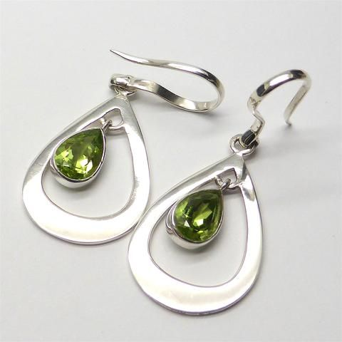Earring Faceted Peridot Teardrop | 925 Sterling Silver | Authentic Stones | Crystal Heart Melbourne Australia since 1986
