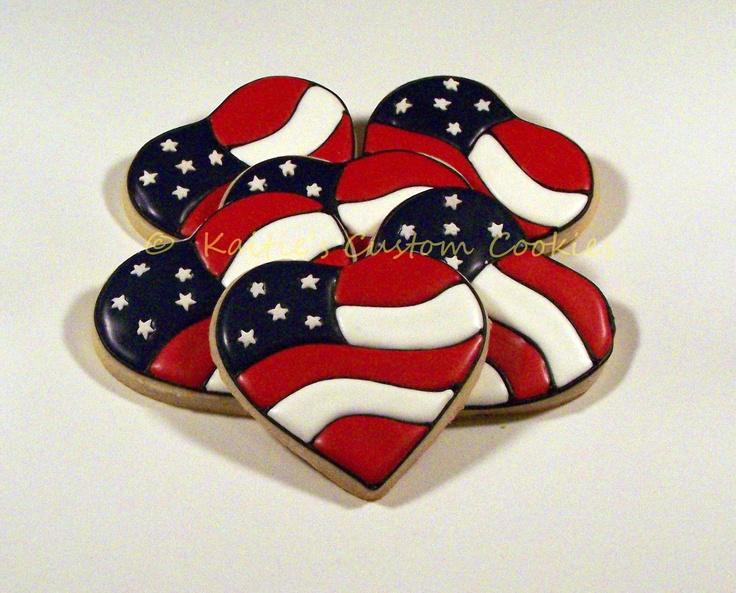 "3"" Heart American flag"