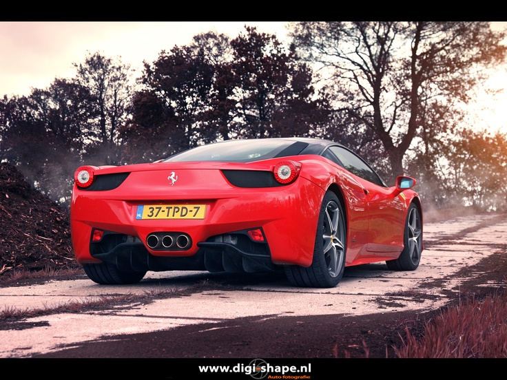 New shot from the Ferrari 458 Italia at sunset between the peat soil. Germany, close to the Dutch Border. This 458 came from the unrestricted autobahn and reached 300 km\h short before this shoot.