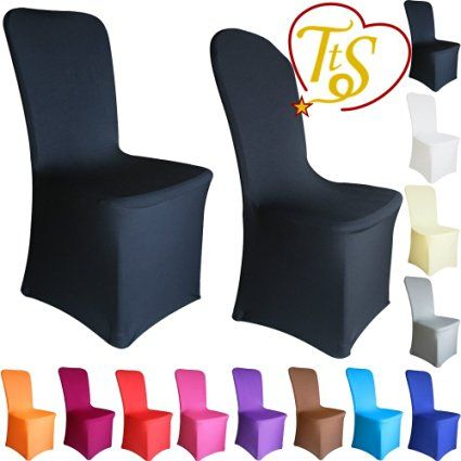 TtS Chair Covers Spandex Lycra Cover Wedding Banquet Anniversary Party Decoration Flat Front #01 Black