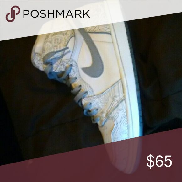 """Nike Air Jordan Retro """"Laser 1s"""" All white Jordan 1s with grey and white laces I am willing to trade Jordan Shoes Athletic Shoes"""