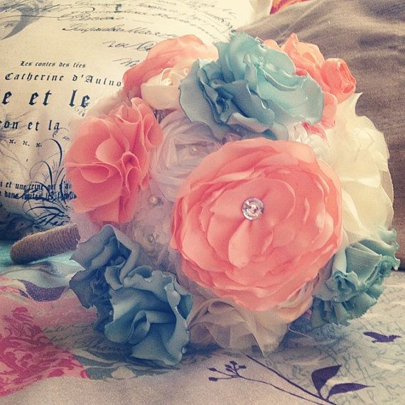 Custom Made Fabric Flower Bouquet with Bling by TheLoveBucketSA, $130.00