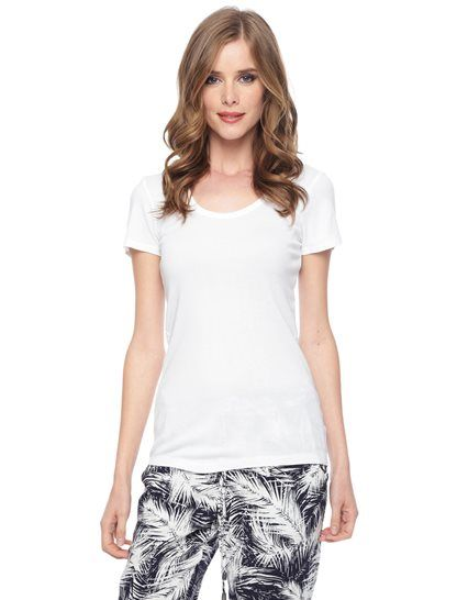 Splendid Official Store, 1x1 Scoop Neck Top, black, Womens : Tops : Short Sleeve, STAG1614