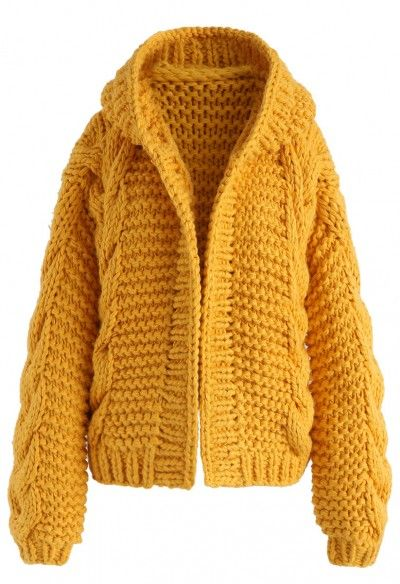 finest selection 619c0 0aa62 All-Over Warmth Hooded Chunky Cardigan in Mustard | knitting ...