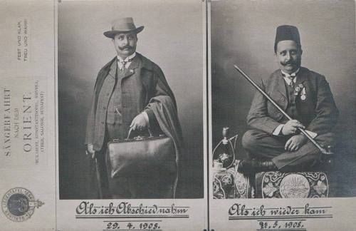 A German man before he went to the Ottoman empire and when he returned. 1908  [[MORE]] Interestingly enough there is an old German newspaper with advice for Germans thinking about emigrating to live under the Ottoman state dating from 1857: - The...