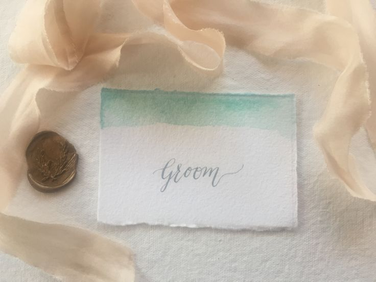 Tiffany Blue watercolour, calligraphy place cards